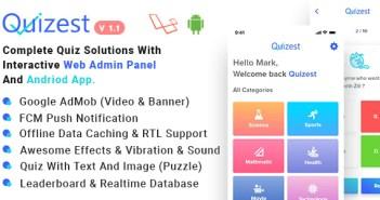 Quizest: soluciones de prueba completas con la aplicación de Android y el panel de administración interactivo