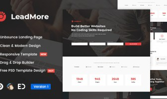 LeadMore - Plantilla de página de inicio de Unbounce de generación de leads