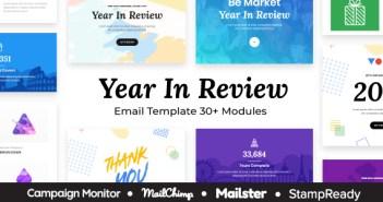 Resumen del año: plantilla de correo electrónico receptivo multipropósito - StampReady + Mailster & Mailchimp