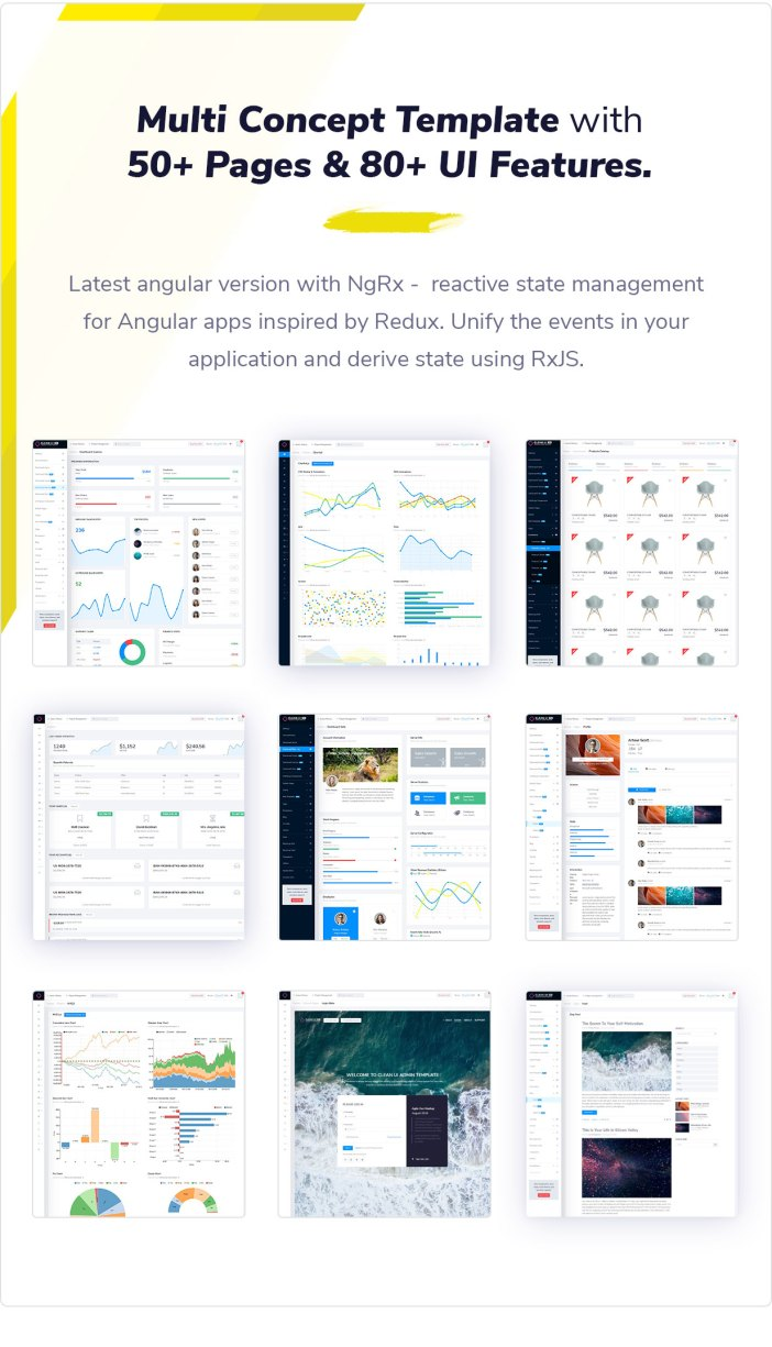 Clean UI Angular Pro - Angular NgRx Admin Template + Html Version - 1