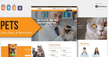 ANIMALES DOMÉSTICOS - Plantilla HTML para el cuidado de mascotas, tiendas y productos veterinarios