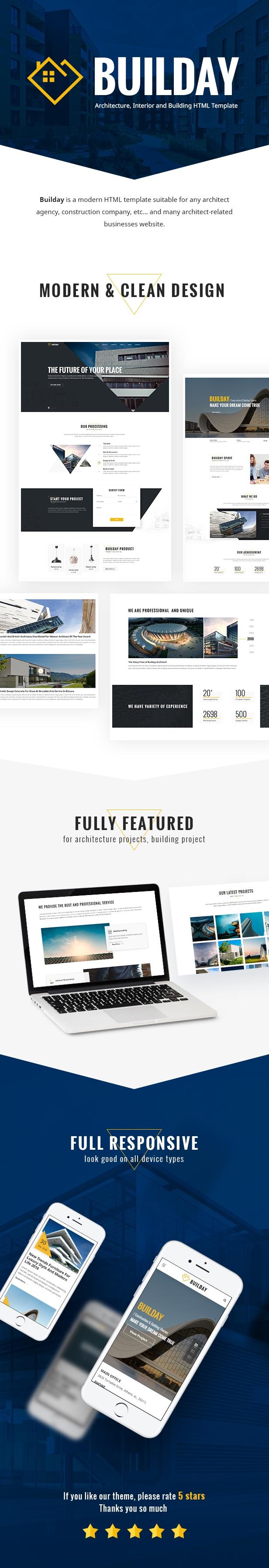 Builday - Plantilla HTML moderna de Architech, interiores y edificios - 1