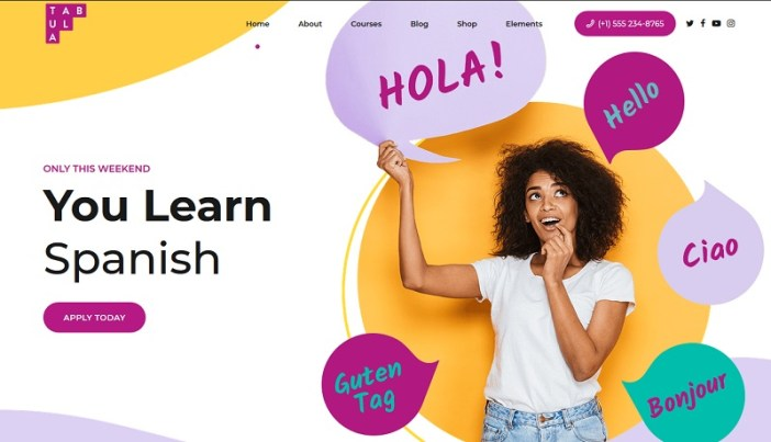plantillas wordpress para academias de español
