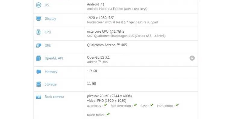 Motorola Moto X Play con Android 7.1 Nougat su GFXBench!