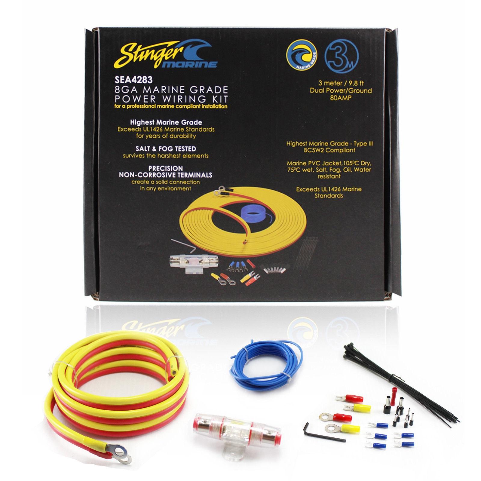 hight resolution of stinger sea4283 boat utv marine amplifier installation kit 8ga 3 details about stinger sea4283 boat utv