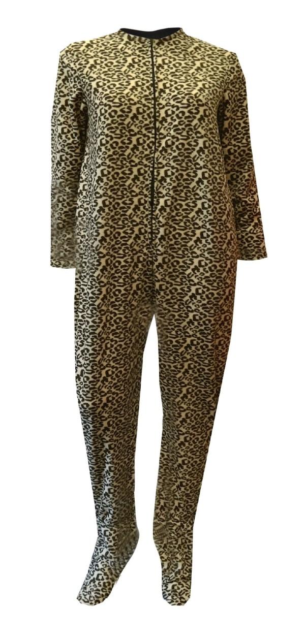 Brown Leopard Fleece Piece Footie Pajama
