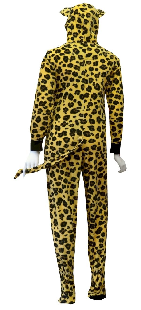 Leopard Hooded Piece Footie Pajama
