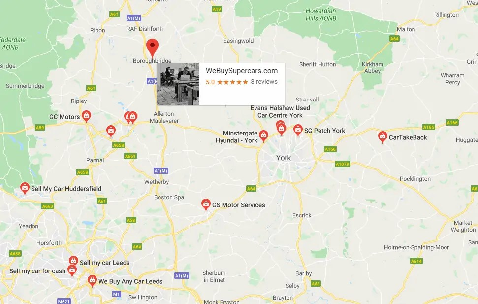 map of North Yorkshire car dealers