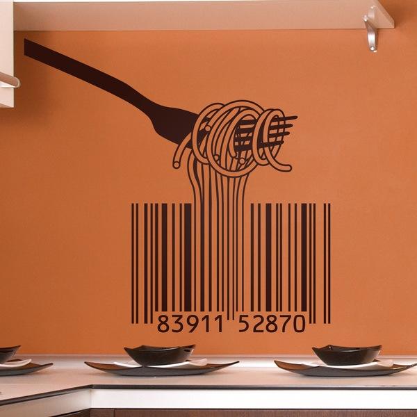 Wandtattoo kche Gabel Spaghetti und barcode  WebWandtattoocom