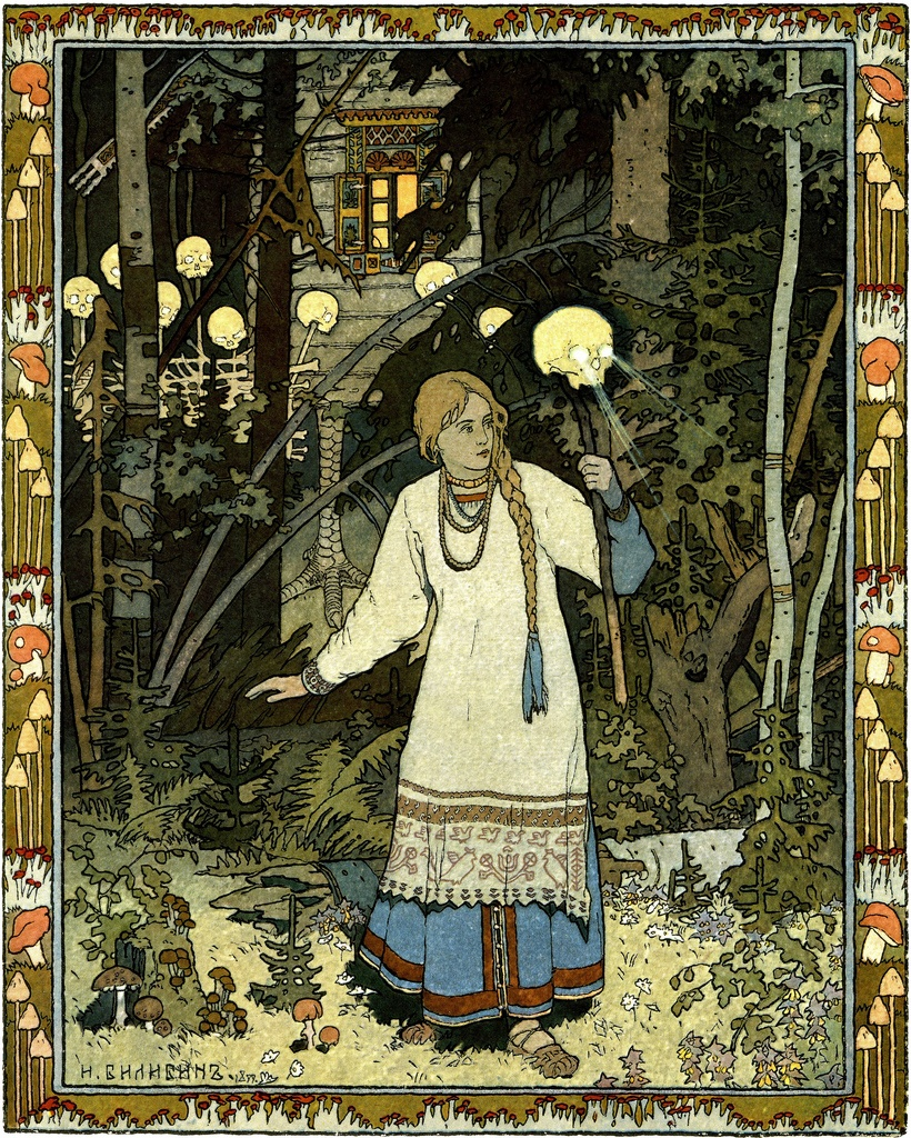 Vasilisa, and in the background, Baba Yaga's house on chicken legs