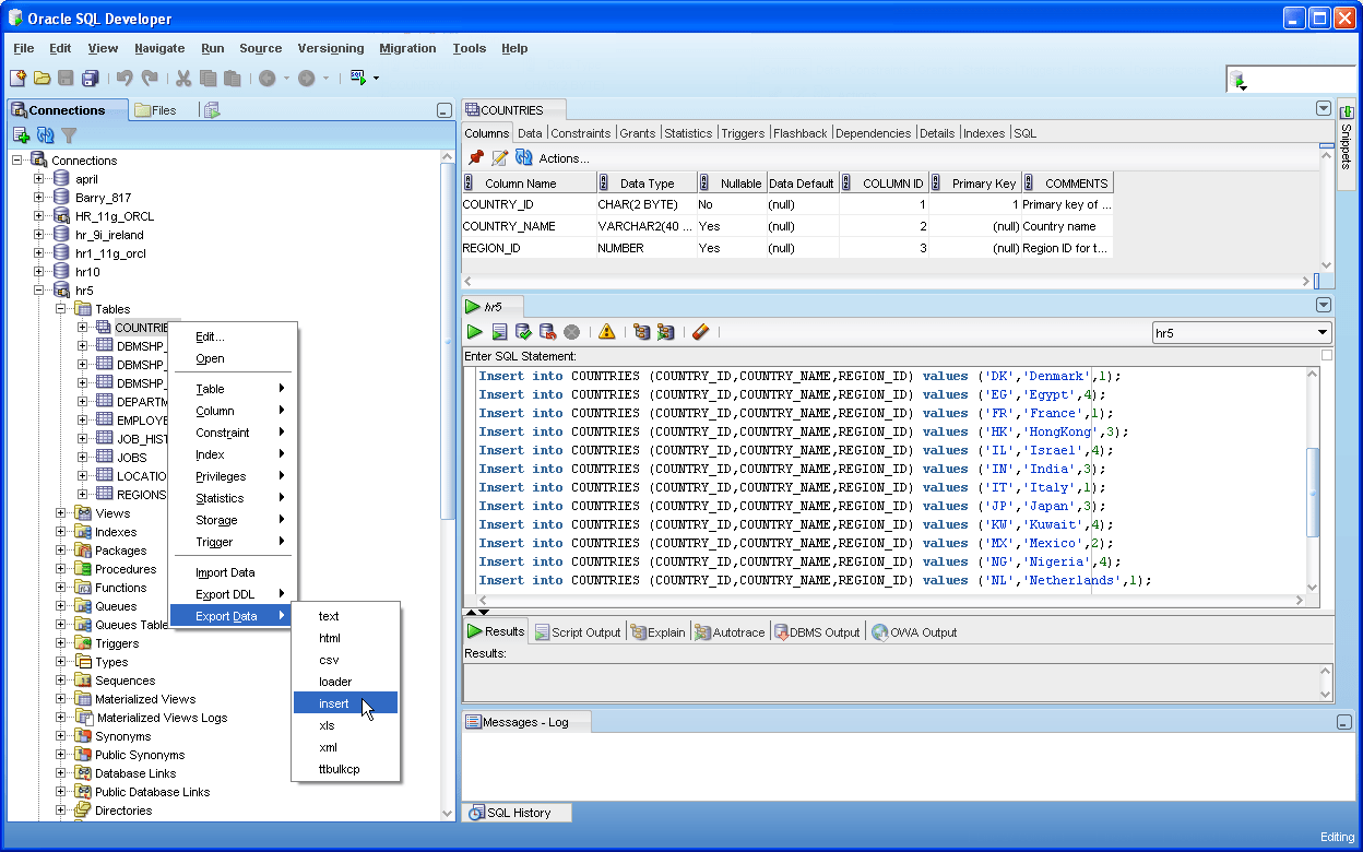 Oracle Sql Developer Import Connections