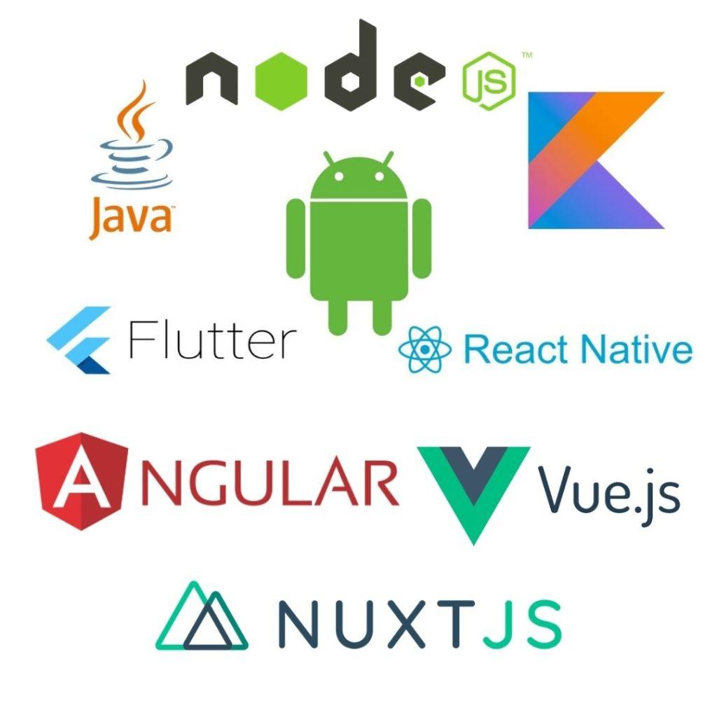 Cotlin JAVA React Angular and Node.js