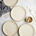 Handcrafted White Matte Finish Ribbed 7 Quarter Plates Set Of 4 Wechoose In