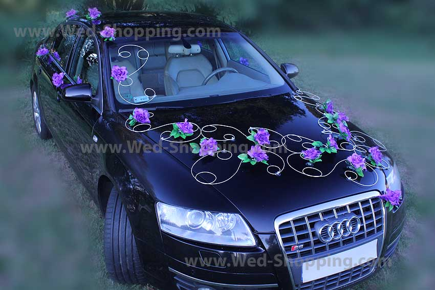 Wedding Car Deco Set Lilac Roses