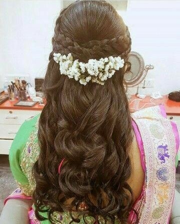 Braided half updo with Flowers