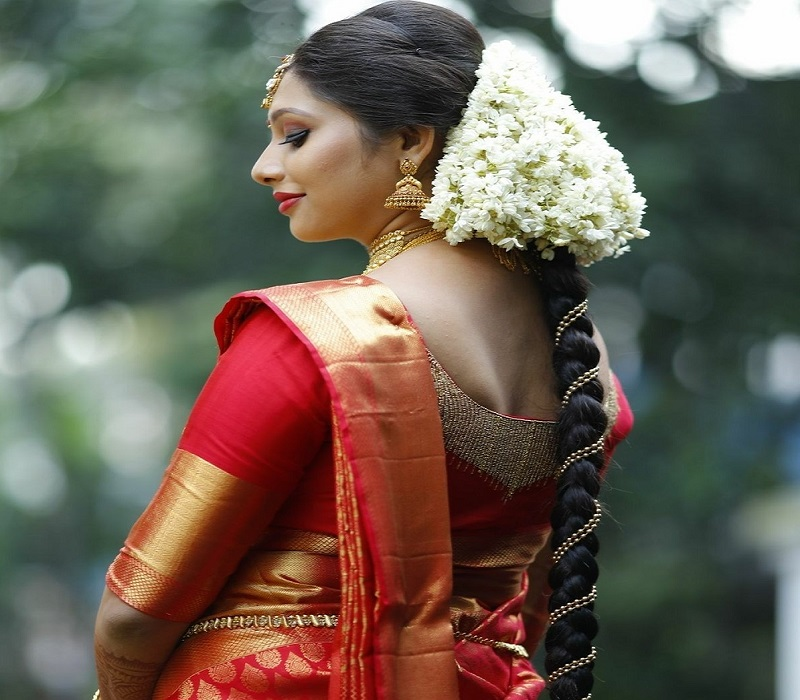 South Indian bridal hairstyle