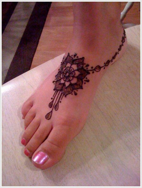 27.Anklet Flower Henna for Leg