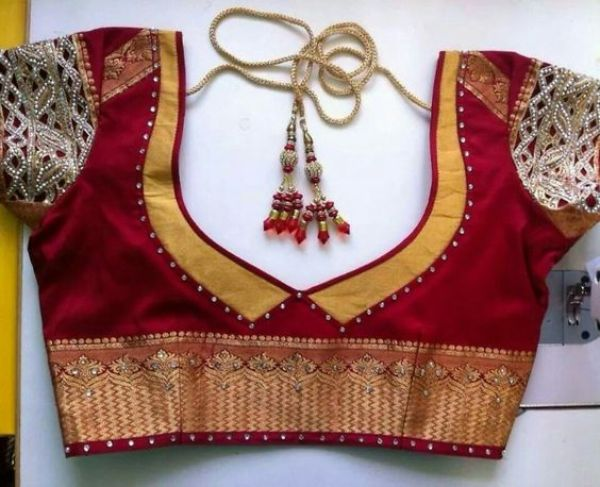 37.Red with Yellow Work Blouse