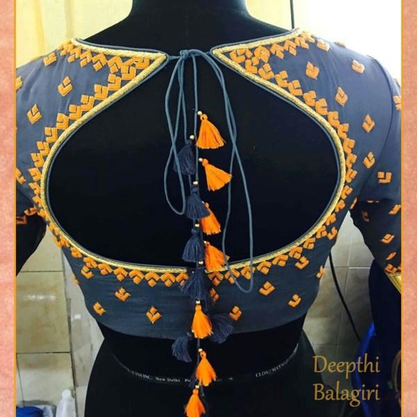 28.orange with blue long tassel