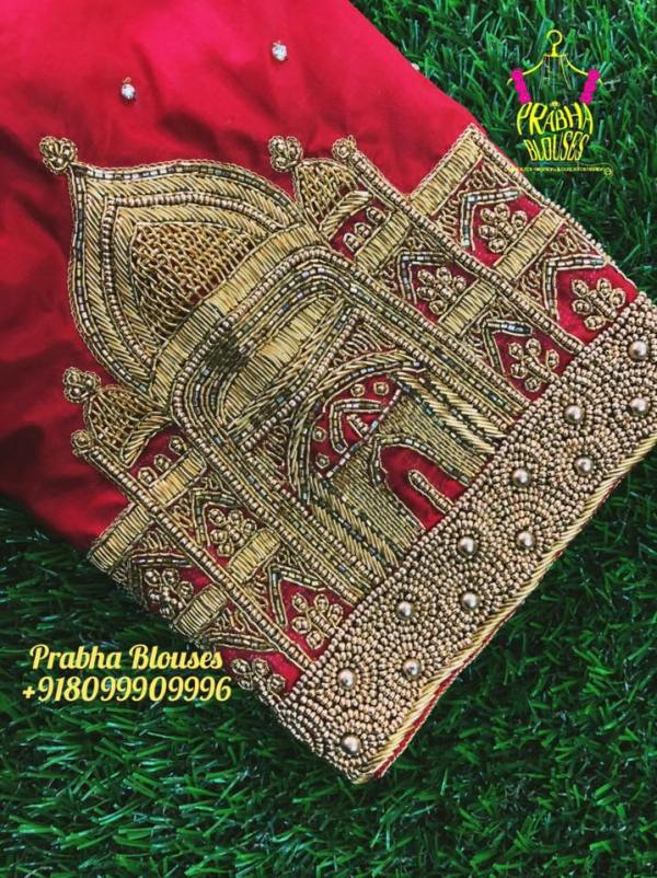 21.Taj Mahal design in bridal blouse