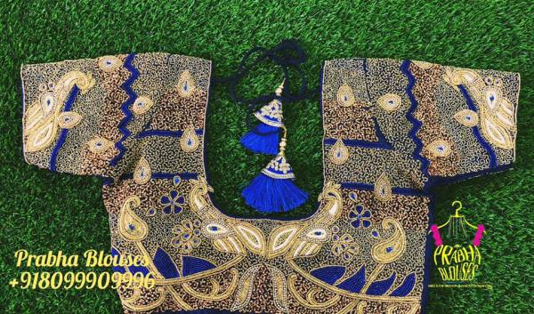 22.Heavy work royal blue bridal blouse