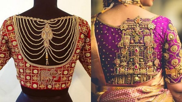 6.Bridal Back blouse design with pearl chain