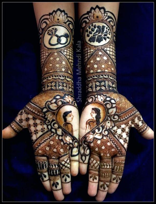 8.Couples ring birds mehndi design