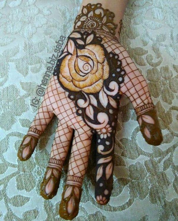 44.Rose Mehndi design #44