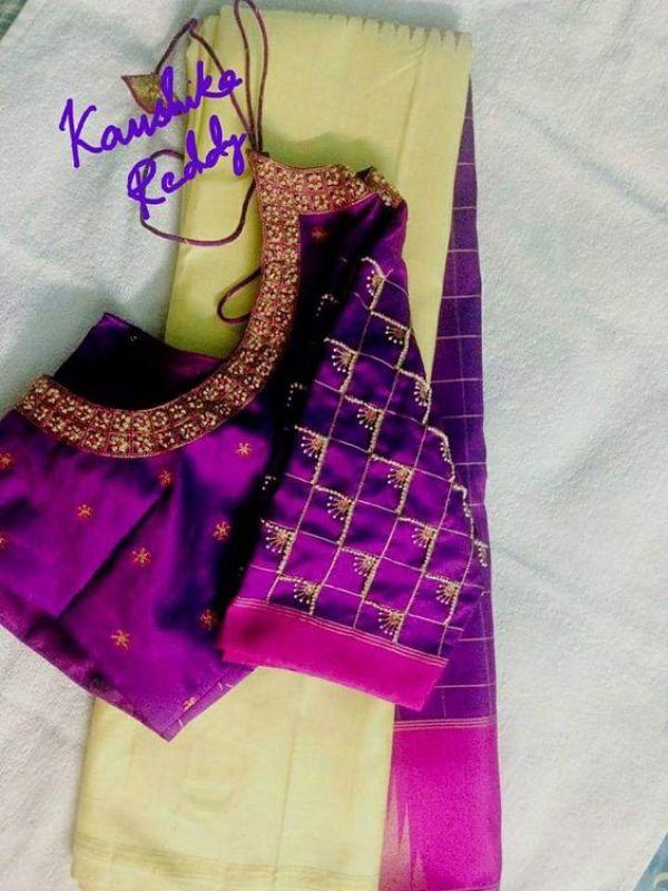 2.Check blouse design #2