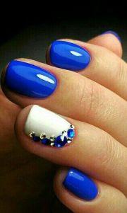 royal blue stone nail art