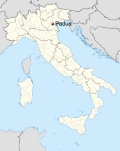 Carte de l'Italie indiquant Padoue