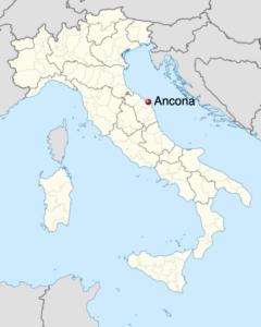 Carte de l'Italie indiquant ANCONA, MARCHE