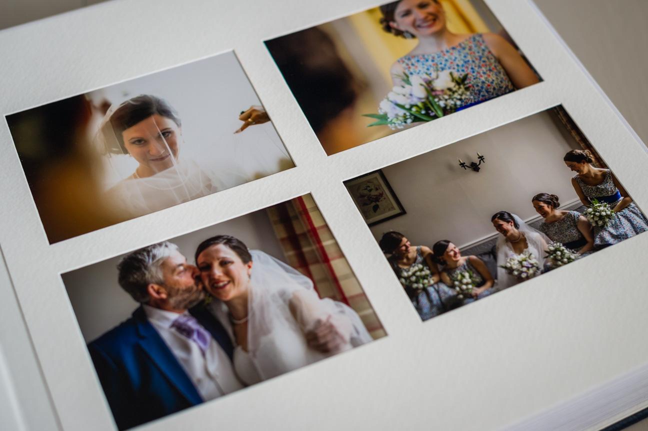 page of photos in queensberry wedding album