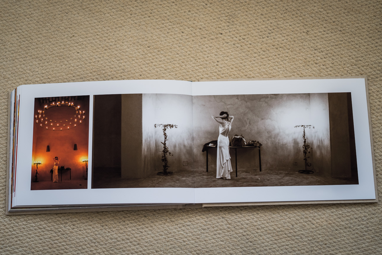 double page spread in fine art wedding album