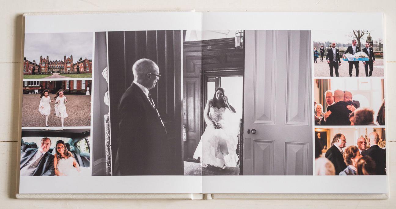 mix of colour and black and white photos on wedding album spread