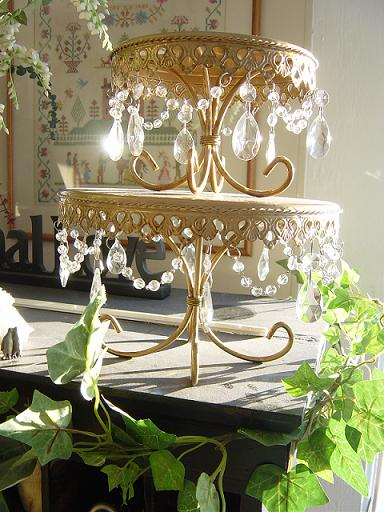 antique gold cake stand with hanging crystals