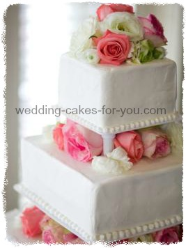 Square Wedding Cake Stacked And Tiered