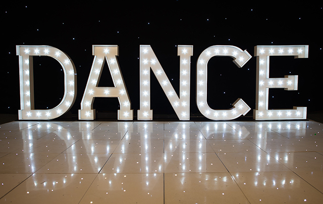 Light Up DANCE Letters  Illuminated DANCE Letters  Big DANCE Hire  Wedding Venue Lighting