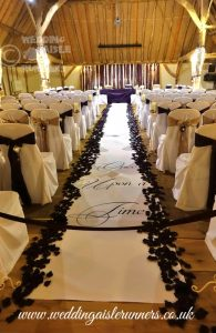 personalised wedding aisle runner with large font