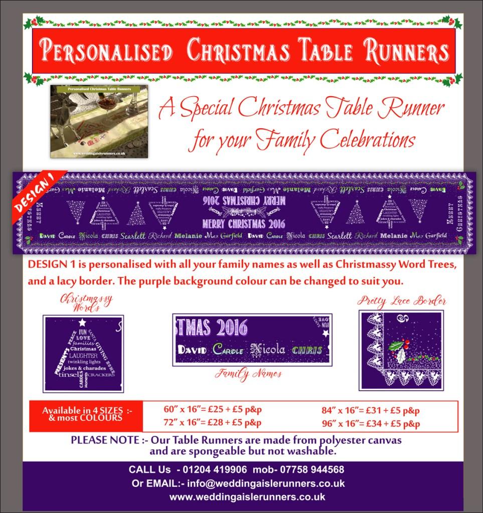 Design 1 Personalised Christmas Table Runner