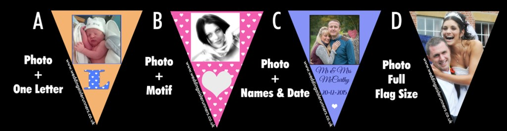photo bunting designs by wedding aisle runners