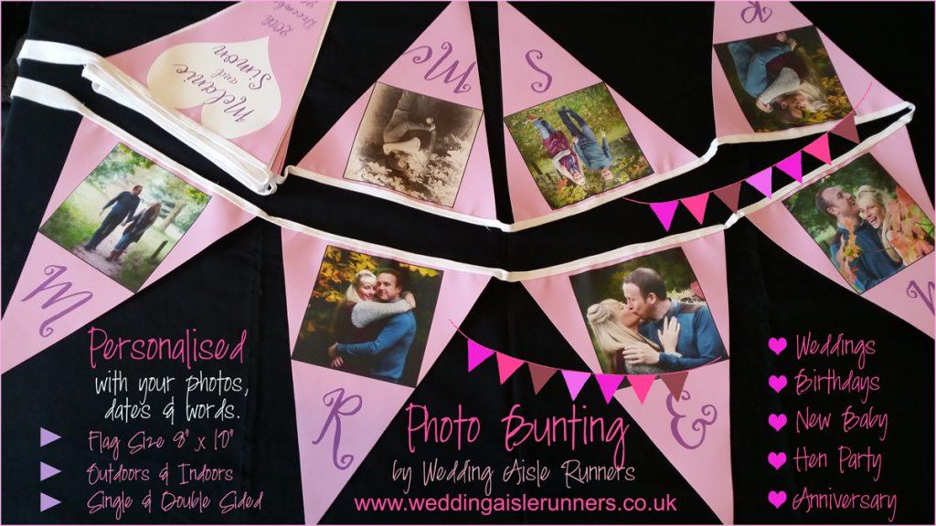 wedding photo bunting by wedding aisle runners