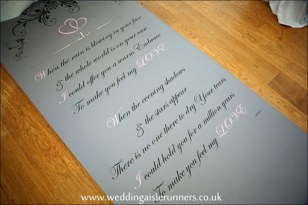 personalised wedding aisle runner with verse