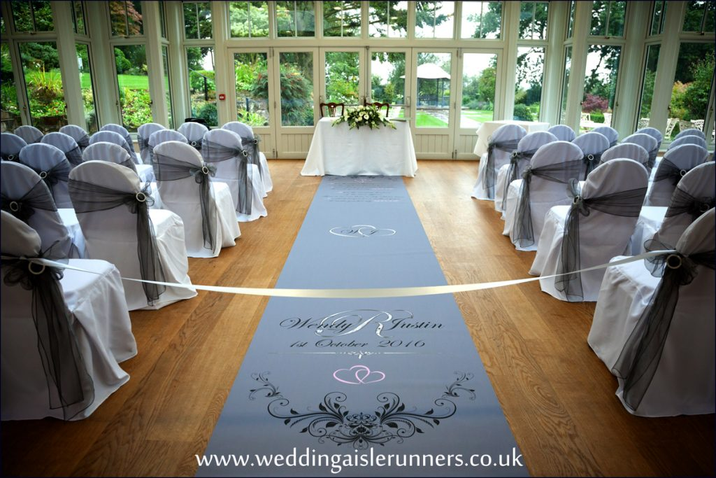 grey and silver wedding aisle runner