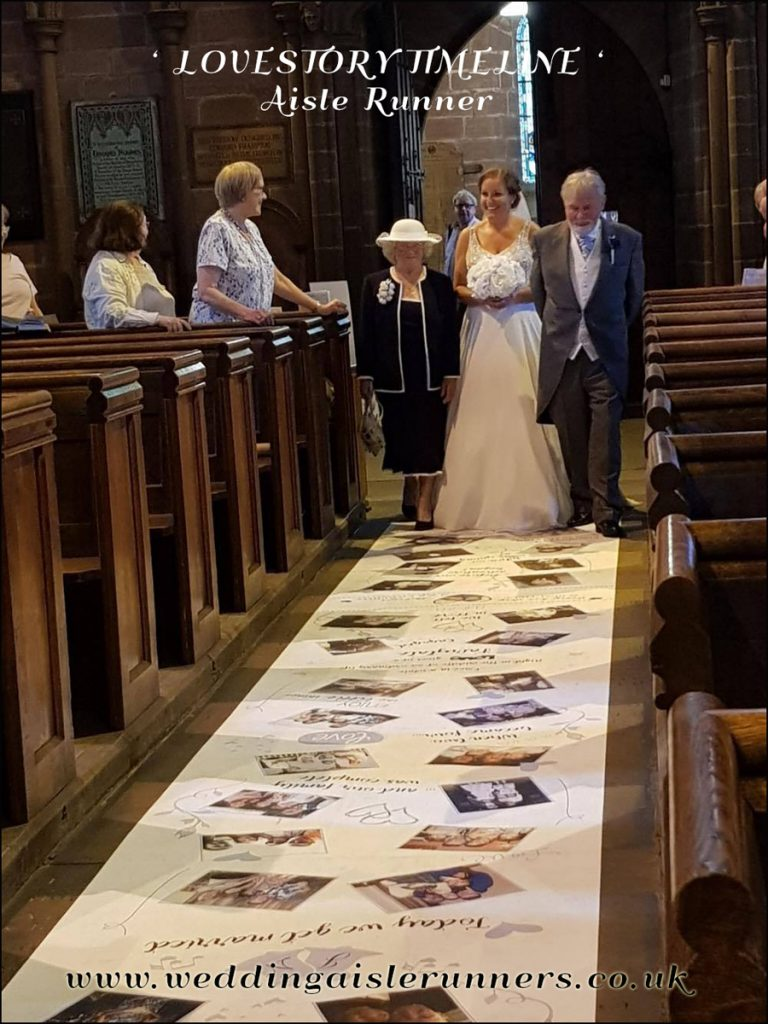 Jenny walking down the aisle with her Nana & Grandad  on her Lovestory Timeline Aisle Runner