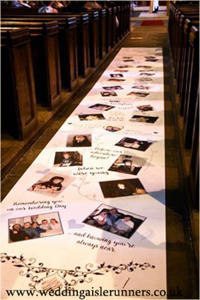 Jenny's Lovestory Timeline Aisle Runner with photos, dates and captions