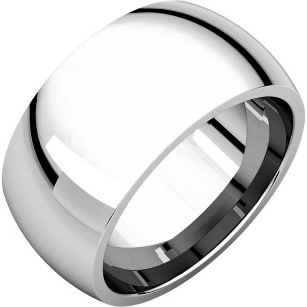 S116872w 14k White Gold Heavy 10mm Wide Comfort Fit Wedding Band