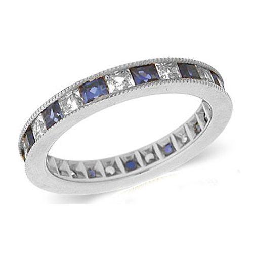 14k Channel Set 140ct Princess Diamond Amp Sapphire