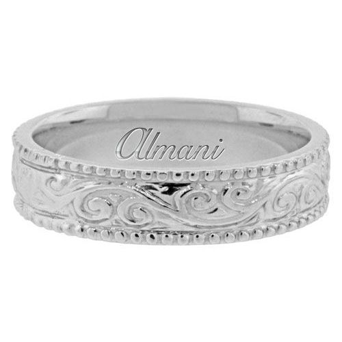 950 Platinum 55mm Antique Wedding Band Comfort Fit AWB1003PLT