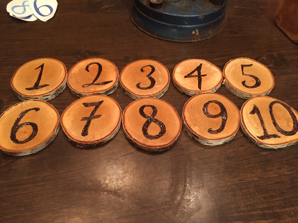 Rustic Birch Wood Table Numbers
